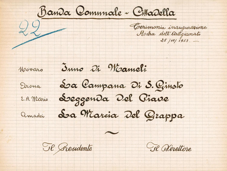 Programma dell'inaugurazione della Mostra dell'Artigianato durante la Fiera Franca di Cittadella del 1953.