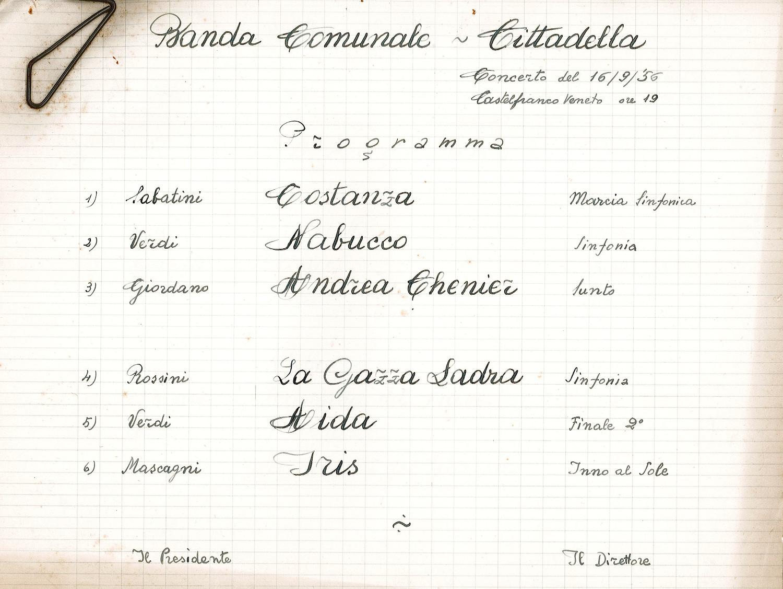 Programma di un concerto svoltosi a Castelfranco Veneto (TV) il 16 settembre 1956.